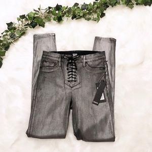NWT Hudson High Rise Bullocks Lace Up Skinny Jeans
